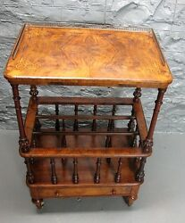 Fine English George Iii Rosewood And Marquetry Canterbury Music Stand C. 1830
