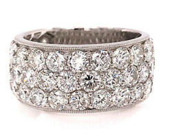 Brand New Diamond 3 Row Cocktail Cluster Ring Band 4.94ct 18K White Gold