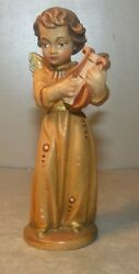New Angel With Lyra, 10253 - D , 10 Cemtimers Hand Carved Wood Lepi