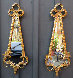 34 Pair Friedman Brothers Gold Gilt Mirror Candle Holders Wall Sconces