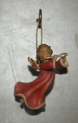 New Angel With Flute For Hanging, 10258-a , Wood Figurines Lepi, Italy