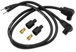 40 +black Plug Wires Universal 90anddeg Boots 8mm Sumax Cycle 76081 Taylor Cables