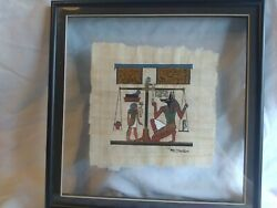 Egyptian Art Hand Painted On Papyrus Signed Framed Between Glass In Black Frame