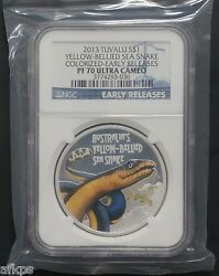 2013 Tuvalu 1 Oz .999 Silver Yellow Bellied Sea Snake Coin Ngc Pf 70 Uc Er Perth