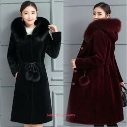 Women Winter Warm Luxury Faux Mink Fur Jacket Hooded Coat Long Overcoat Outwear