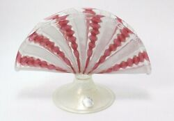 Pink Venetian Candy Ribbon Murano Glass Footed Fan Bud Vase Gold White