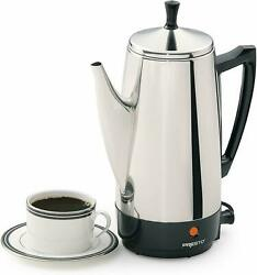 Electric Coffee Percolator Vintage Maker Pot Stainless Steel 12-cup Portable New