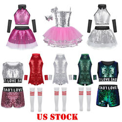 US Girls Modern Jazz Dance Costume Sequins Kids Hip Hop Street Dance Wear Outfit