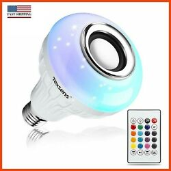 Texsens LED Light Bulb with Integrated Bluetooth Speaker, 6W E26 RGB Changing
