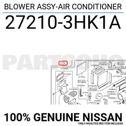 272103hk1a Genuine Nissan Blower Assy-air Conditioner 27210-3hk1a