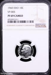 1960 Ddo Vp-005 Roosevelt Dime Ngc Pf69 Cameo Doubled Die Obverse Mv-997-011