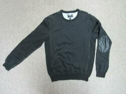 (NWOT TODD SNYDER BLACK CREW NECK WITH LEATHER ELBOW PATCH MEN'S SWEATER sz M)*