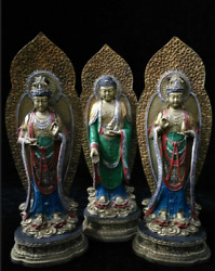 Tibet Buddhism Old Brass Gilt Silver The Three Saints Of The West Buddha Statue