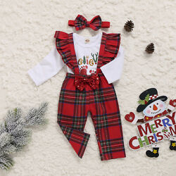 US Newborn Baby Girl My First Christmas Tops Romper Bib Pants Hat Out