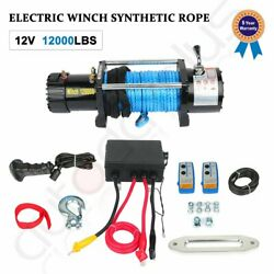 Electric Winch 12000lbs 12v Synthetic Rope Towing Truck Off-road 4wd