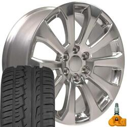 22x9 Polished 5922 Wheels Tires And Tpms Set Fits High Country Sierra Yukon