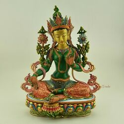 Finely Hand Painted 13.5 Green Tara / Drolma Copper Statue From Patan, Nepal.