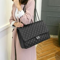 Jollque Quilted Women#x27;s Clutch Handbags Leather Travel Bag Female Large Shoulder $47.60