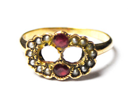 Antique 9k Yellow Gold Ruby And Pearl Figure 8 Cluster Rings Size 5