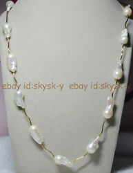 30'' Aaaa Natural 15-23mm South Sea White Baroque Pearl Chain Necklace 14k Clasp