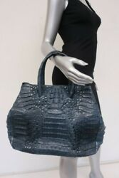 Genuine Crocodile Tote Blue Large Alligator Skin Bag