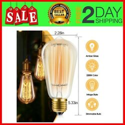 12PCS Vintage Bulb 60W Dimmable ST58 Squirrel Cage Filament Edison Bulb For Home