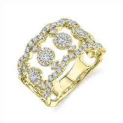 Wide Diamond Open Cocktail Ring Band 14k Yellow Gold Womens Statement Right Hand