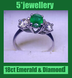New 18ct White Gold Oval Emerald Round Diamond Trilogy Ring Dress Engagement