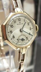 Antique Vintage '39 Rolex Swiss Solid Gold Watch And Rolex Band Working 5x Signed