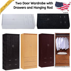 Two Door Wardrobe Armoire With Drawers And Hanging Rod Closet Cabinet Organizer