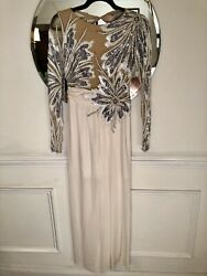 Bob Mackie Sequin Silver And Pearl Beaded Gown Dress - Long Sleeve