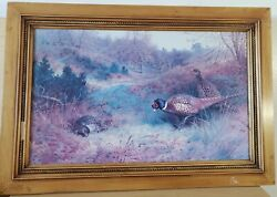 Archibald Thorburn Signed 1909 Computerized Oil Painting Cock And Hen Pheasant 31