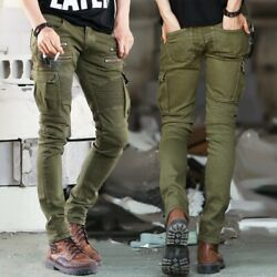 Menand039s Cargo Pants Slim Fit Pleated Stretch Jeans Outdoor Trousers Camping