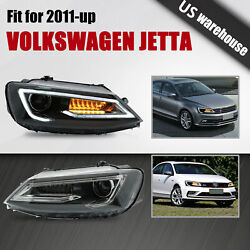 Led Dual Beam Projector Headlights W/ Drl Sequential For 11-14 Vw Jetta Mk6