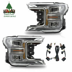 Custom Chrome Full Led Drl Sequential Reflector Headlights For 18-20 F-150