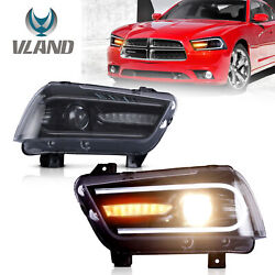 Custom Led Dual Beam Projector Headlights W/ Drl Sequential For 11-2014 Charger