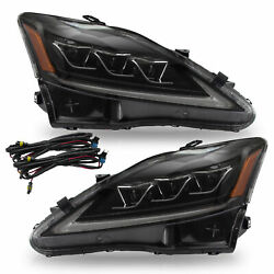 Amber FULL LED Projector Headlights for 06-13 IS250350 10-15 C C F 08-14 IS F