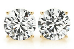 0.86 Ct Round Diamond Studs 18k Yellow Gold Earrings G Si1 Gia Triple Excellent