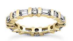 2.34 Carat Round And Baguette Diamond Eternity Band 14k Yellow Gold Ring Size 8