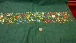Vtg Green Floral Cotton Border Print Fabric 1 Yd 16quot;x 44quot; Wide Red White Green