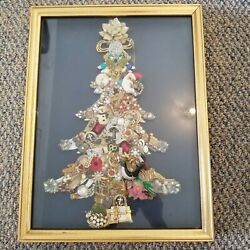 VINTAGE BROACH PIN CHRISTMAS TREE JEWELRY ART PICTURE
