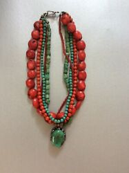 Turquoise And Coral Statement Necklace Plus Earrings — Gorgeous