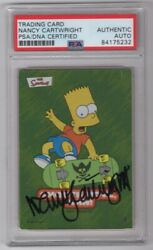 2002 Topps The Simpsons Nancy Cartwright Signed Auto Trading Card 5 Psa/dna