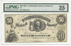 1861 Fifty Dollars Confederate States Of America Note T-8 - Pmg 25 Very Fine