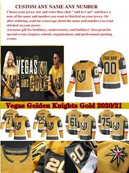 Custom Any Name Number Vegas Golden Knights 2021 Gold Third Jersey 29 Fleury