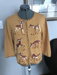 Michael Simon M Embroidered Deer Animal Sweater Christmas Gift Idea