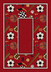 Milliken Red Contemporary Bordered Soccer Ball Area Rug Sports Good Sports Ruby