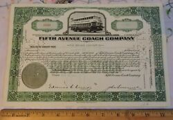 1944 Fifth Avenue Coach New York City Bus Nyc Issued Stock Certficate Similar