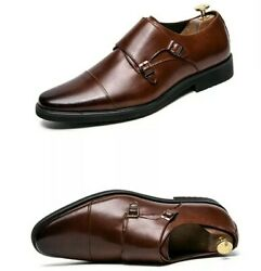 Mens Double Monk Strap Dress Shoes Oxford Style In Ombre Brown Us 11/eur 45 New