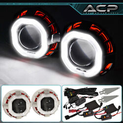 For Lexus Mini Retro Fit Projector Headlight 2.5 H1 Ccfl Halo Ring Red White